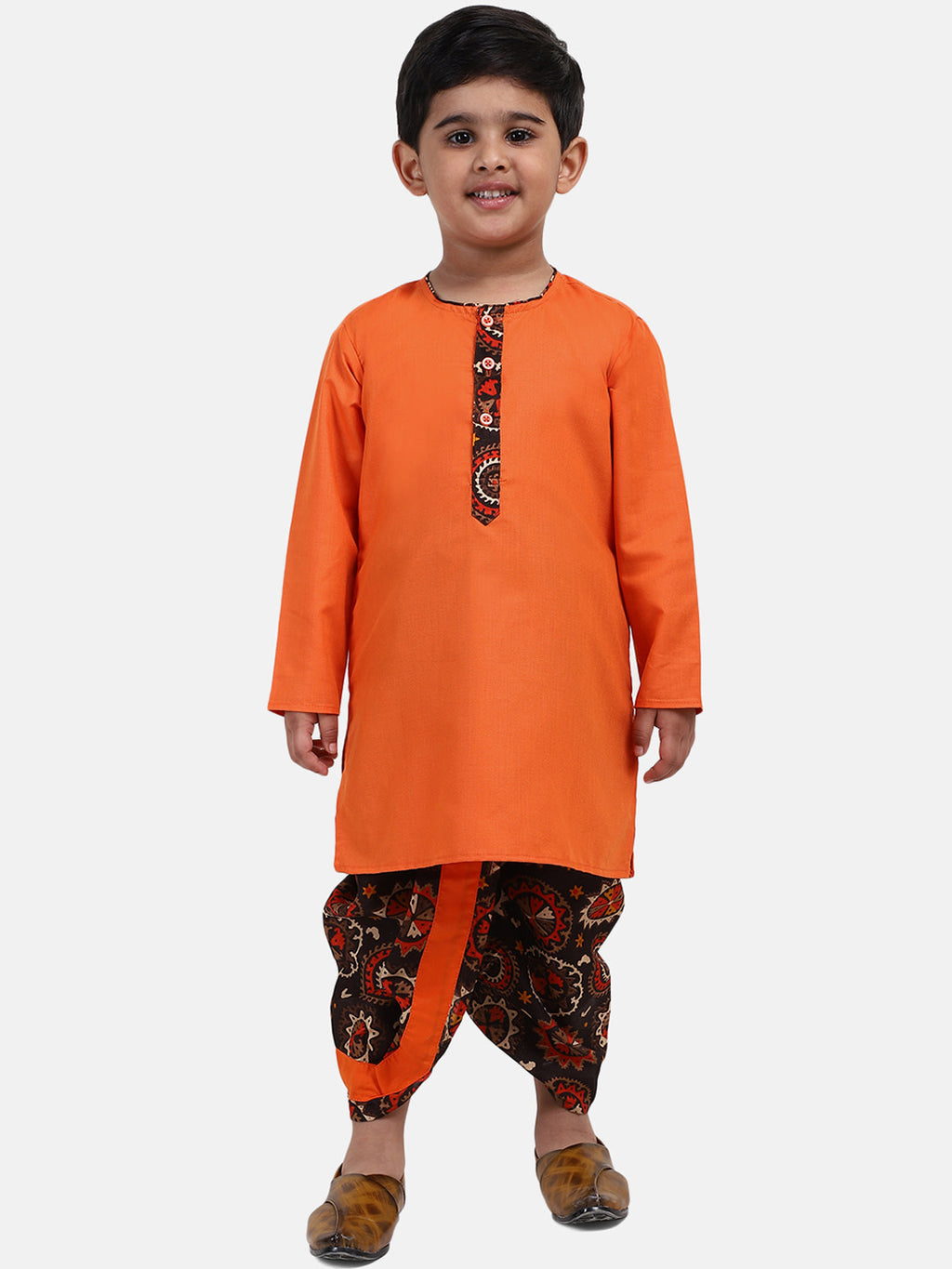 Full Sleeve Printed Dhoti Kurta For Boys- Orange