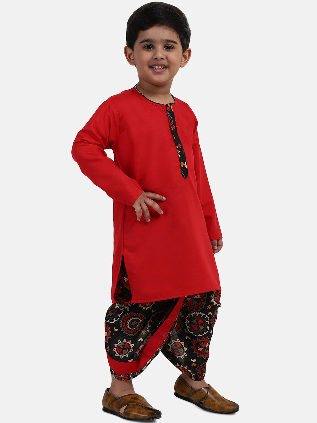 Full Sleeve Printed Dhoti Kurta For Boys-Red
