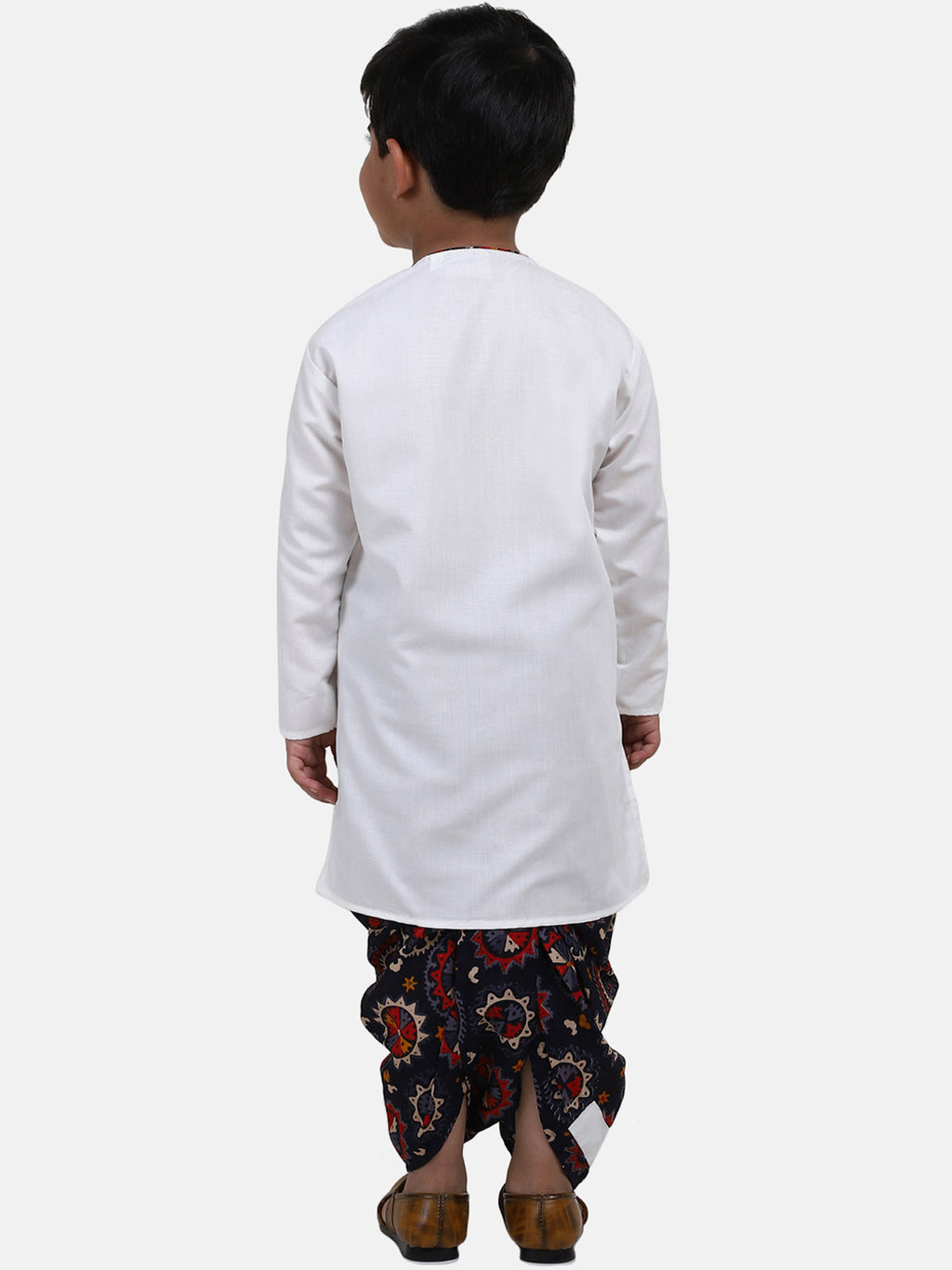 Full Sleeve Printed Dhoti Kurta For Boys-White