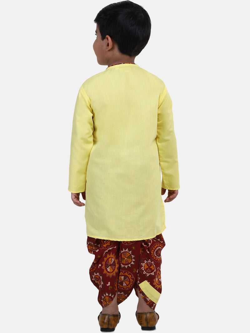 Full Sleeve Printed Dhoti Kurta For Boys-Yellow