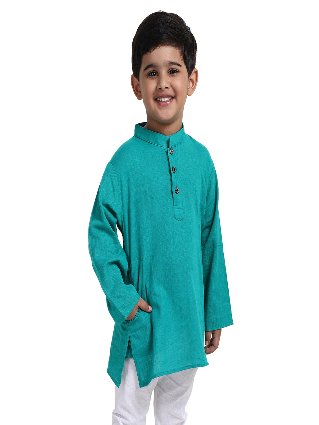 Stand Collar Cotton Kurta-Green