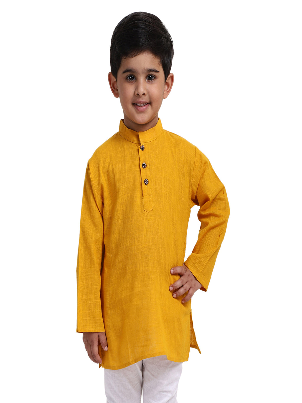 Stand Collar Cotton Kurta-Yellow
