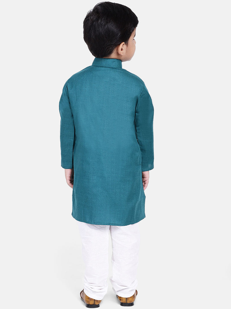 Stand Collar Cotton Kurta pajama-Blue
