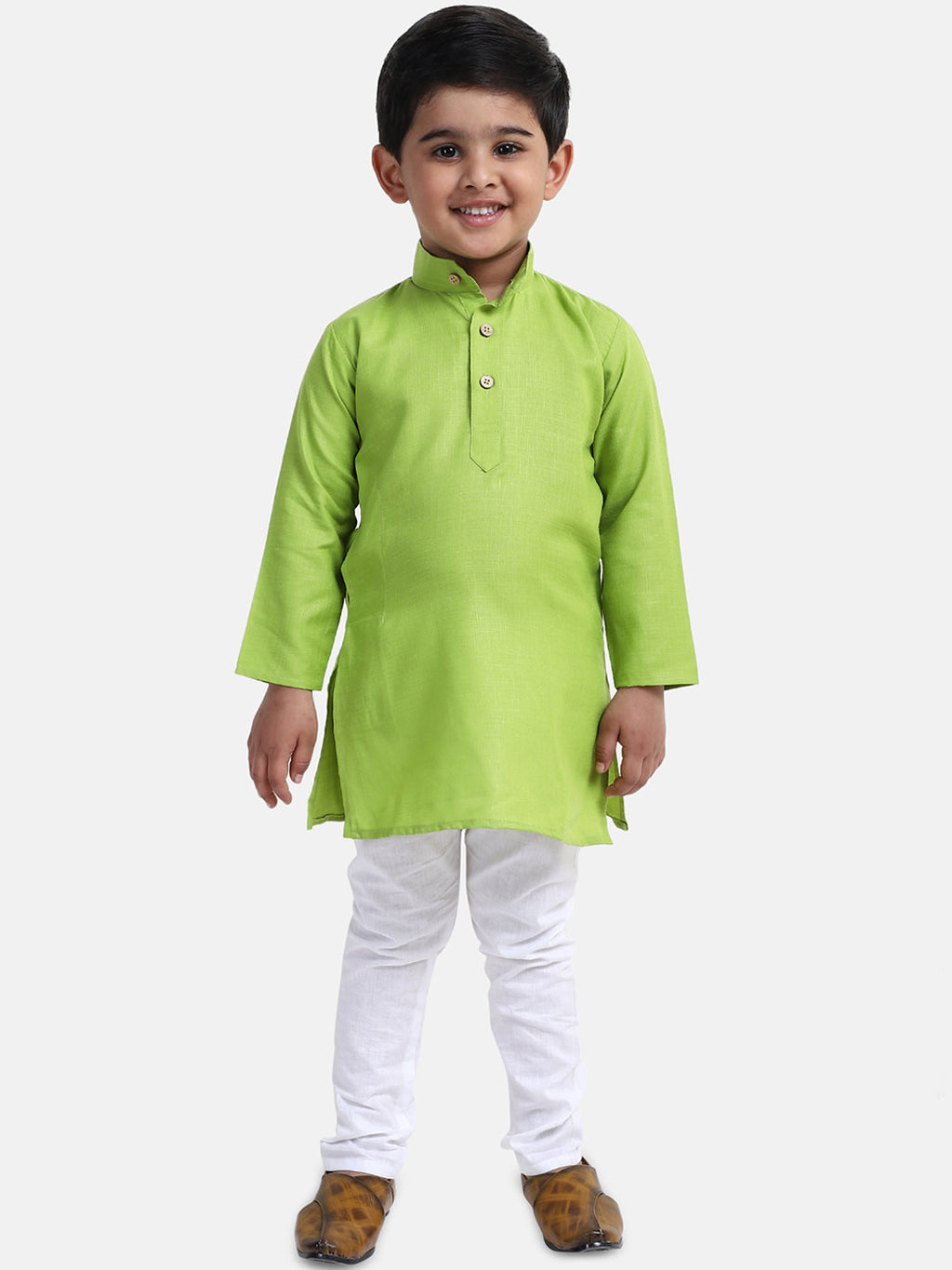 Stand Collar Cotton Kurta pajama-Green