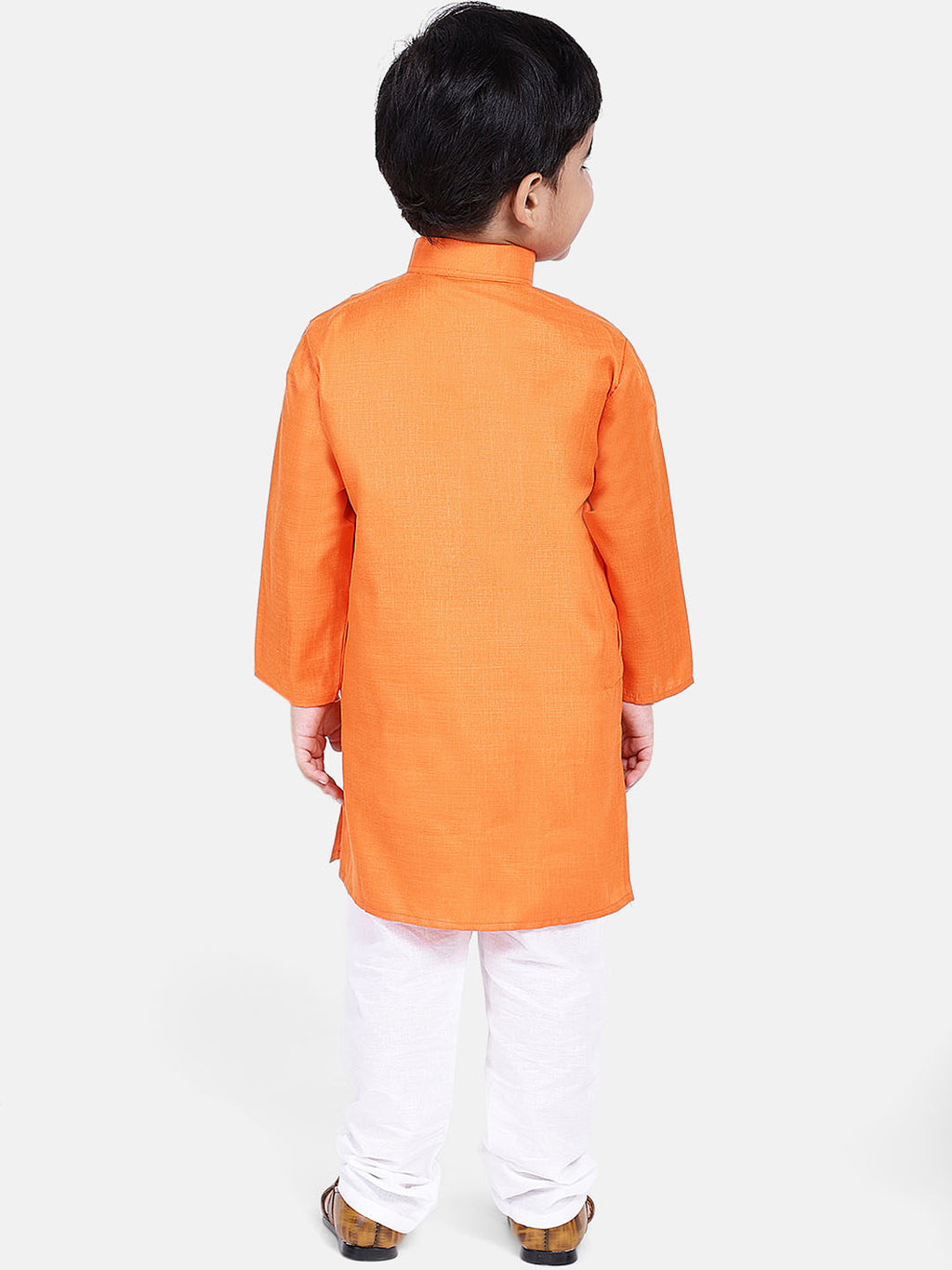 Stand Collar Cotton Kurta pajama-Orange