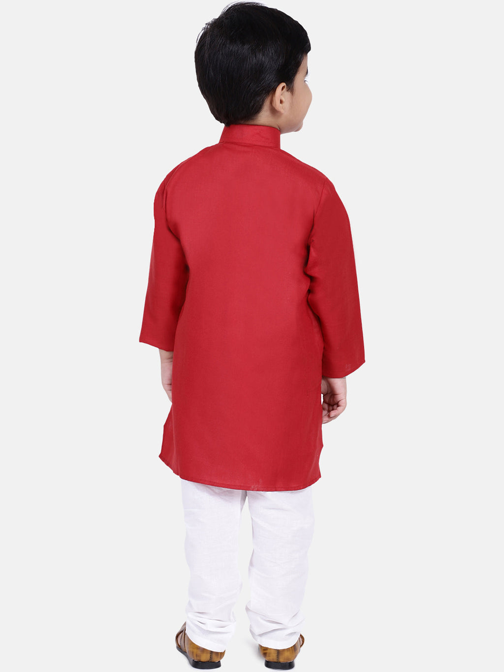 Stand Collar Cotton Kurta pajama-Red