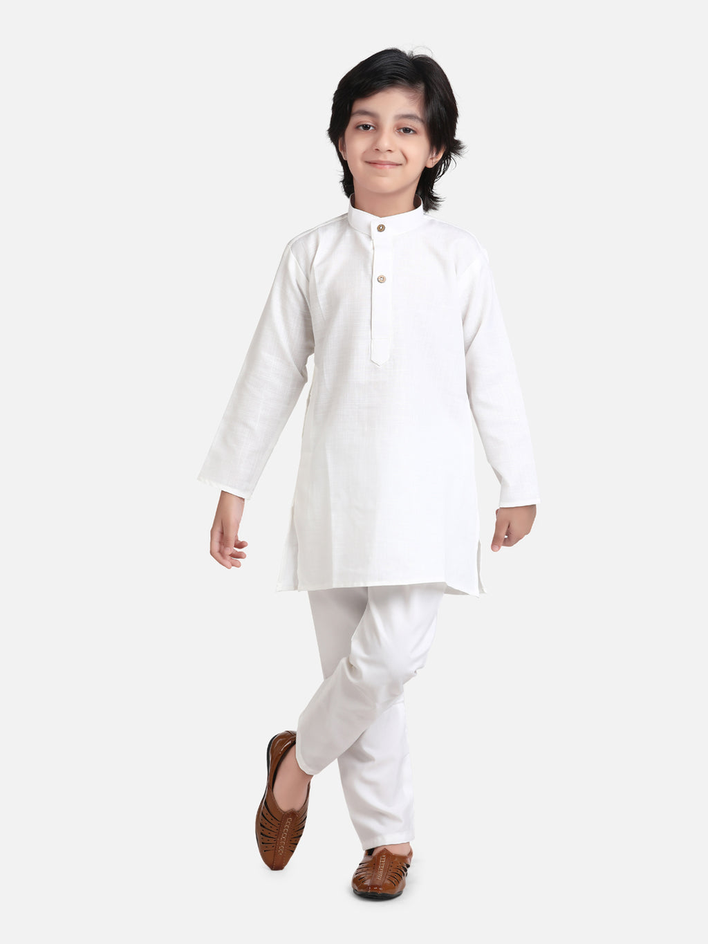 Stand Collar Cotton Kurta pajama-White