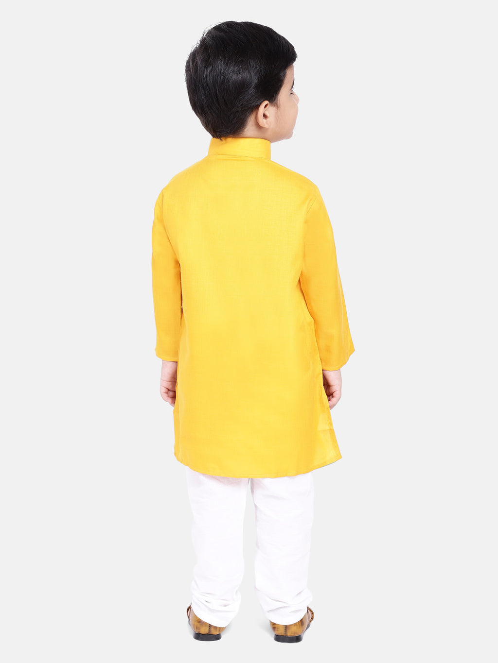 Stand Collar Cotton Kurta pajama-Yellow