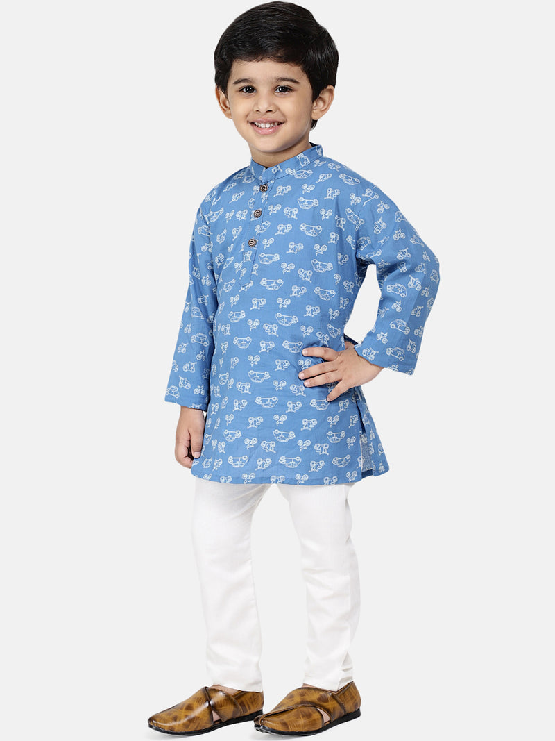 Jaipuri Print Pure Cotton Kurta Pajama For Baby Boys- Blue