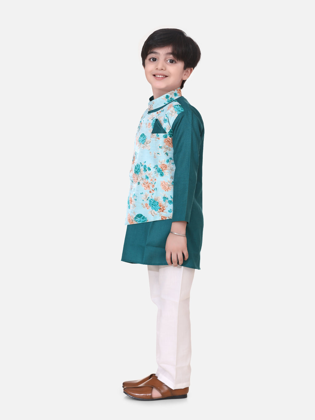 Attached Jacket Kurta Pajama For Boys-Green