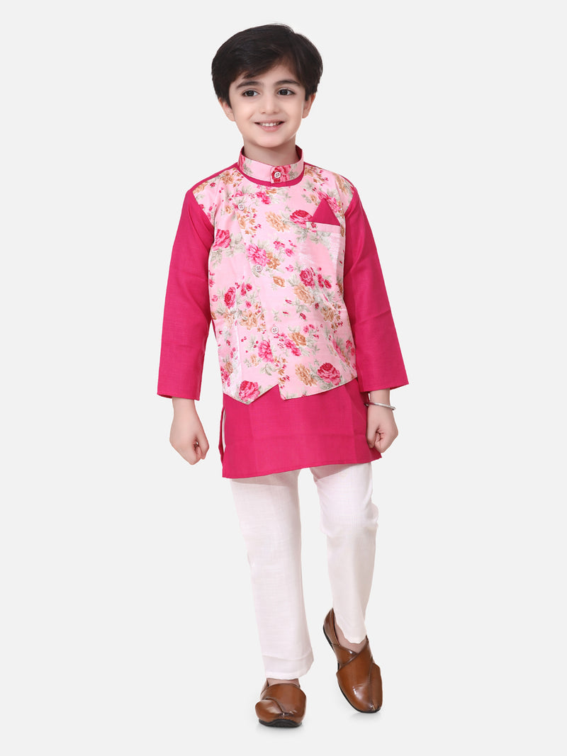 Attached Jacket Kurta Pajama For Boys-Pink