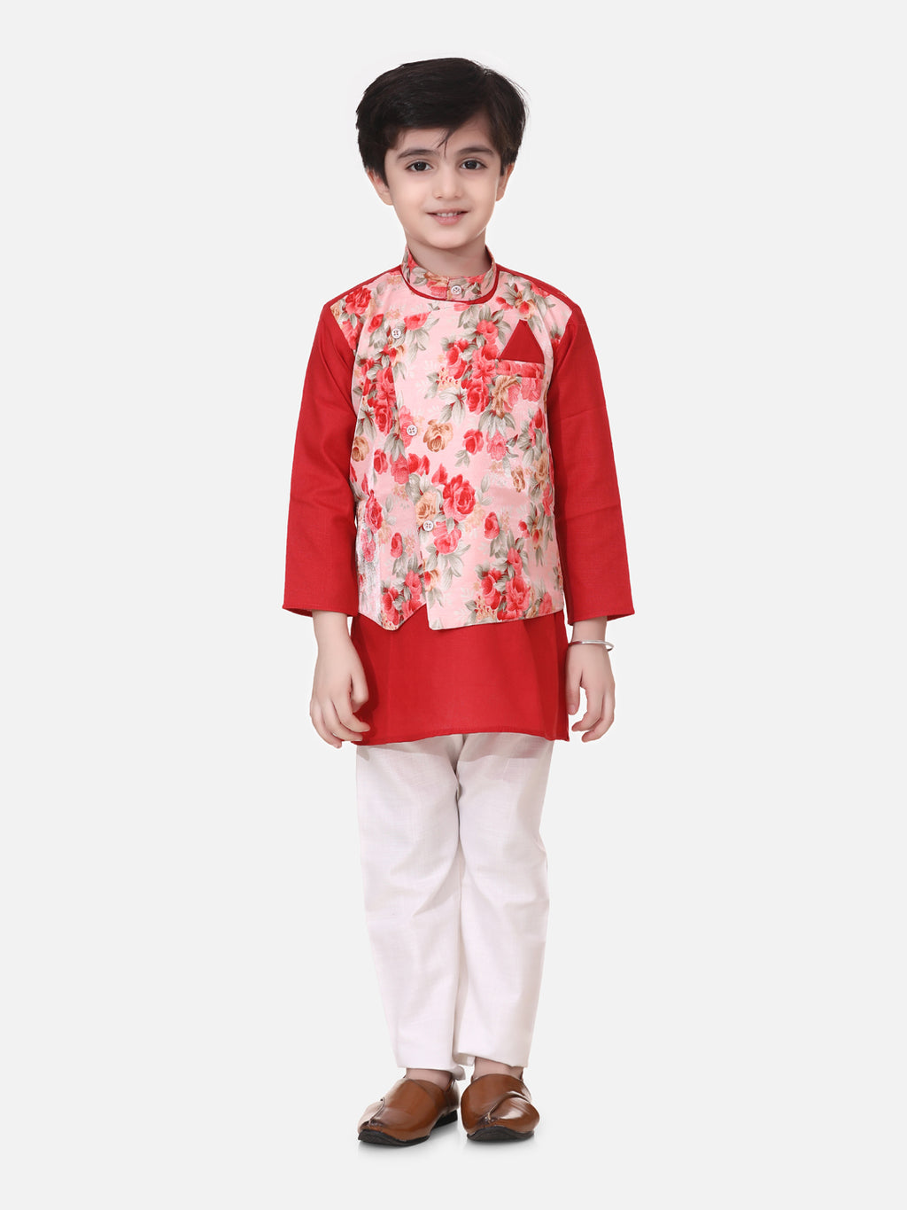 Attached Jacket Kurta Pajama For Boys-Red