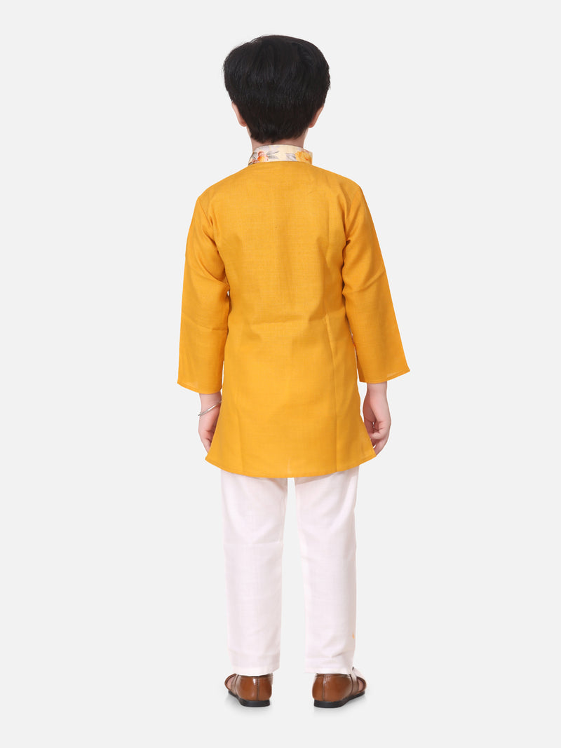 Attached Jacket Kurta Pajama For Boys-Yellow