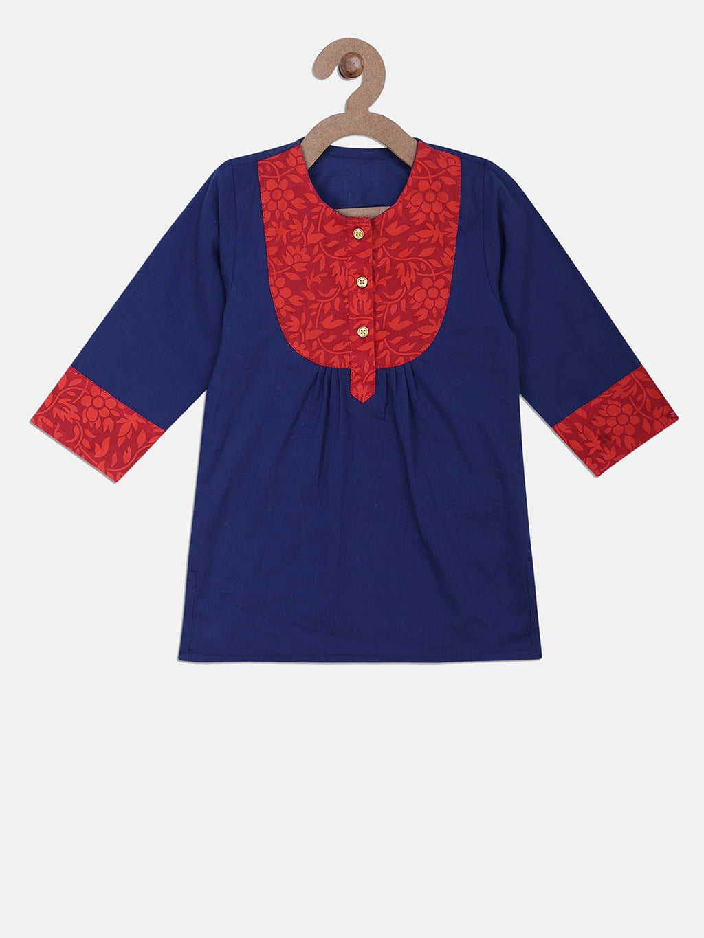 Jaipuri Rayon Full Sleeve Kurti For Girls- Blue