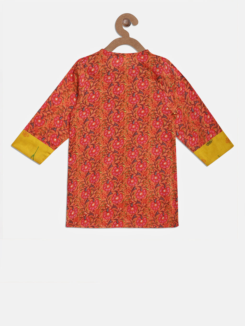 Jaipuri Rayon Full Sleeve Kurti For Girls- Peach