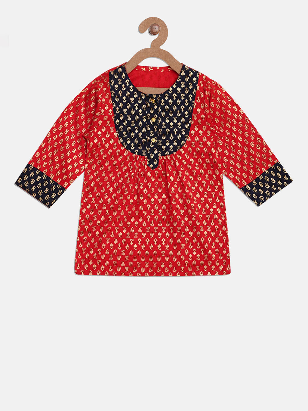 Jaipuri Rayon Full Sleeve Kurti For Girls- Red