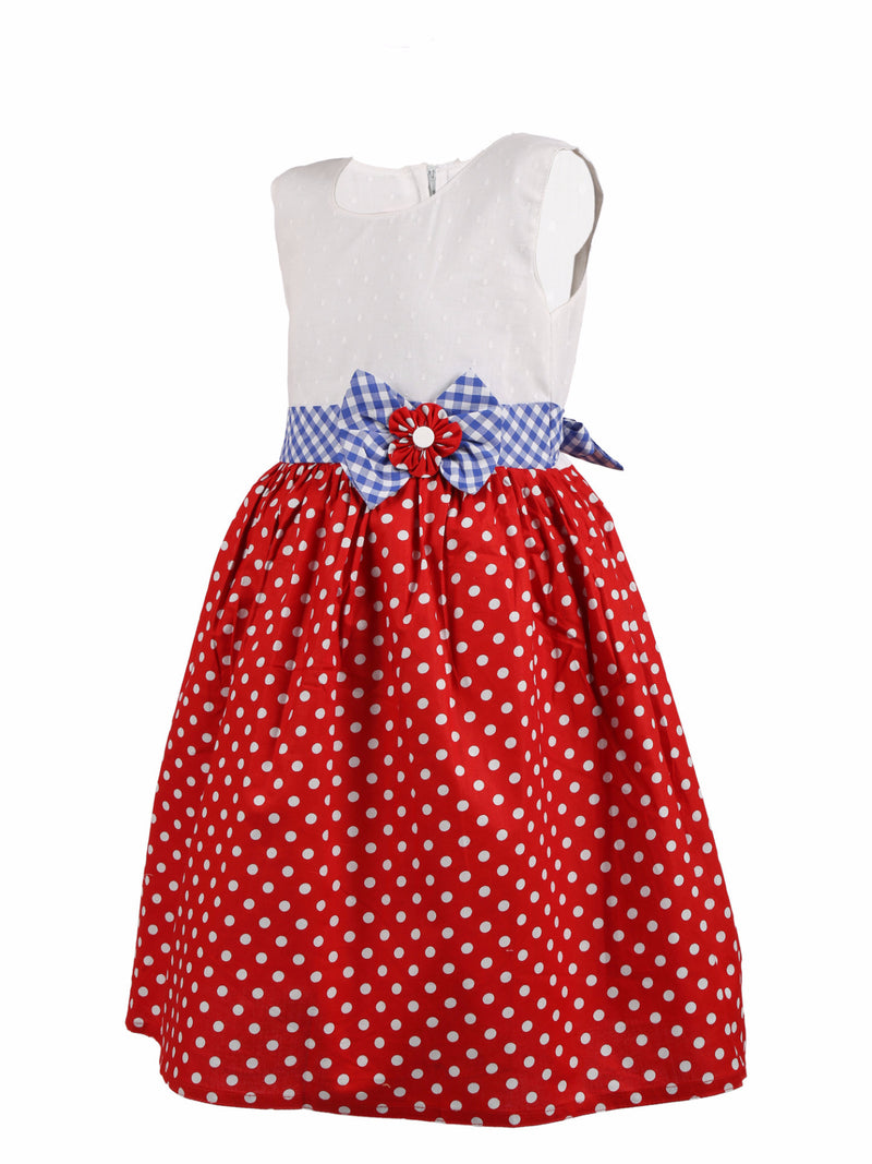 Polka dot with Bow Dress - Red