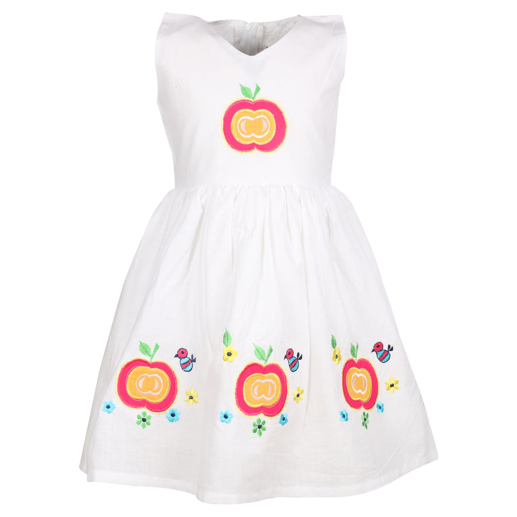 Cotton White Embroidery Dress - BownBee - Creating Special Moments