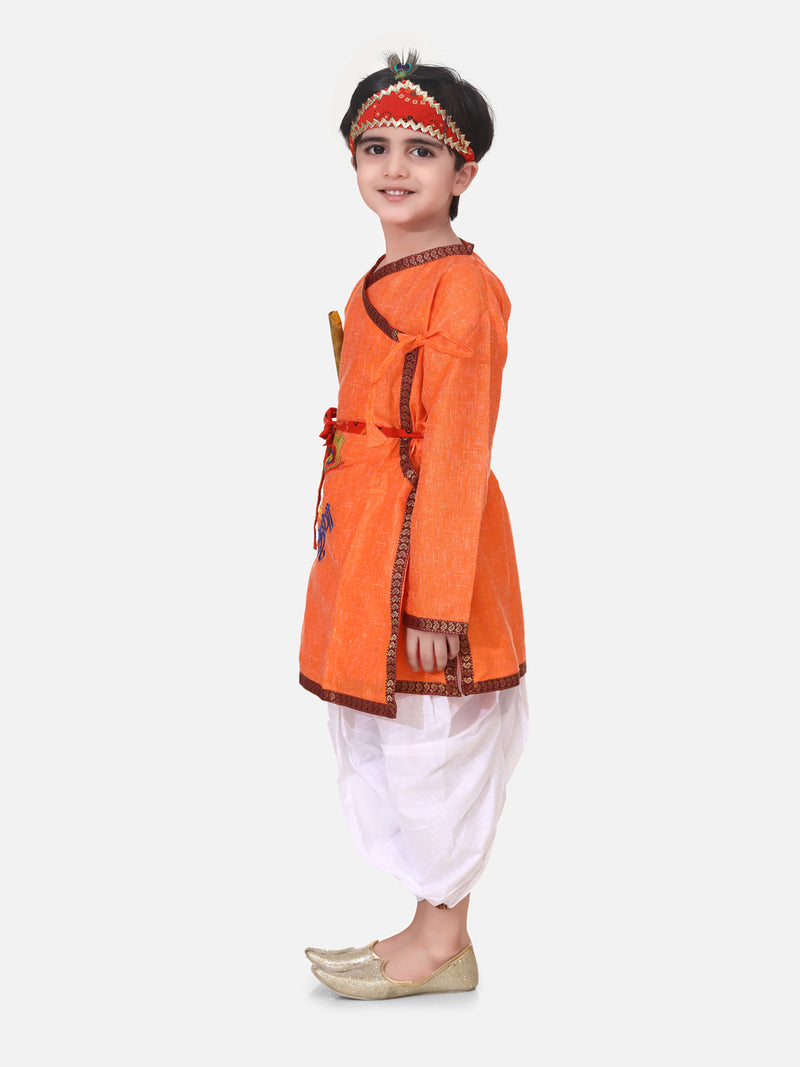 Kanhaiya Style Embroidered Full Sleeves Kurta With Dhoti Mukut Bansuri & Patta