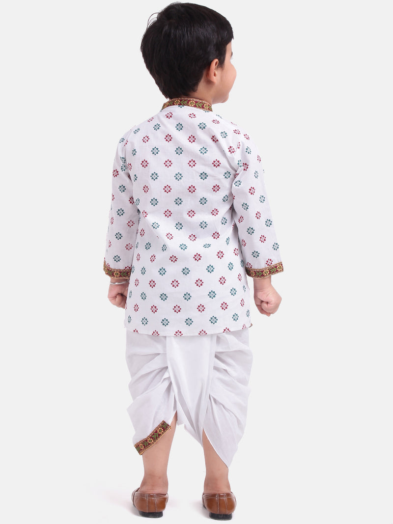 Cotton Kanhaiya Suit Dress For Baby Boy-White