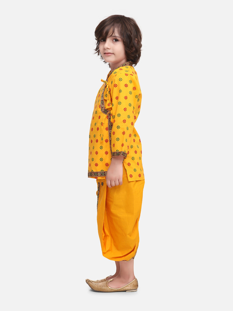 Jaipuri Print Cotton Kedia Dhoti Set-Yellow