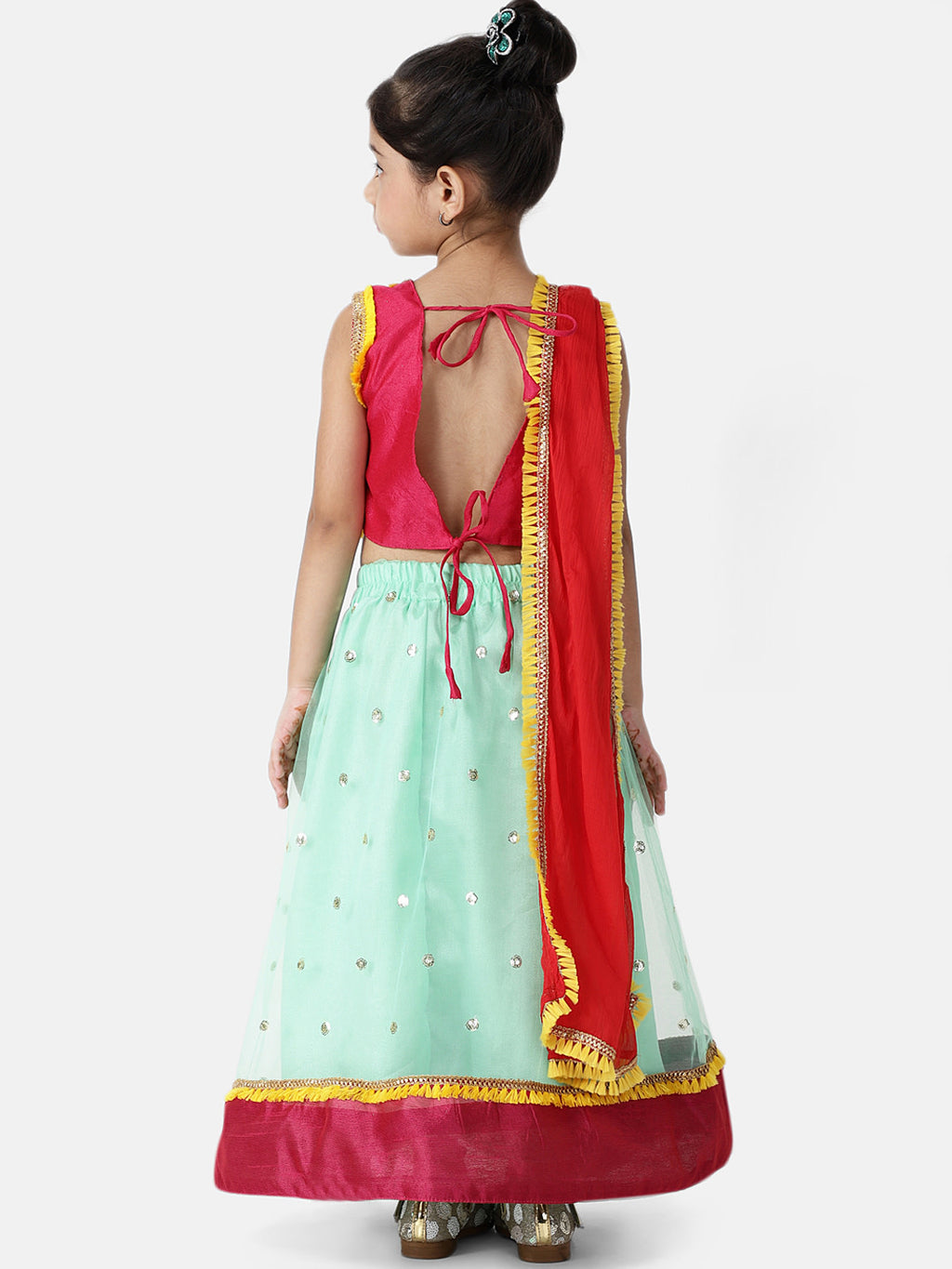 Sequin Net Lehenga Choli For Baby Girl- Light Green