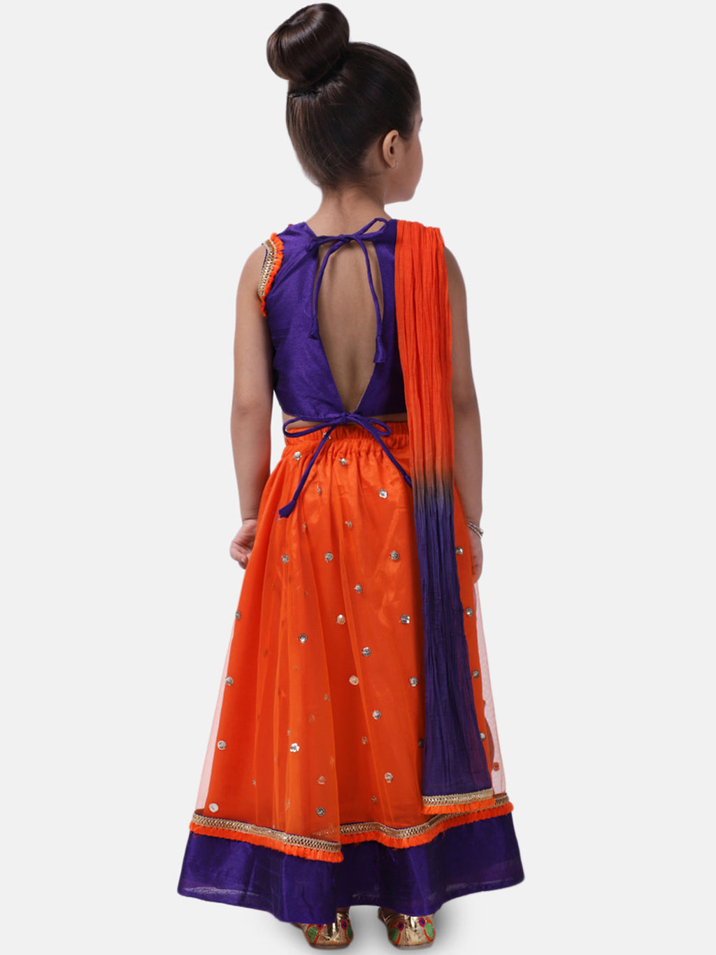 Sequin Net Lehenga Choli For Baby Girl- Orange