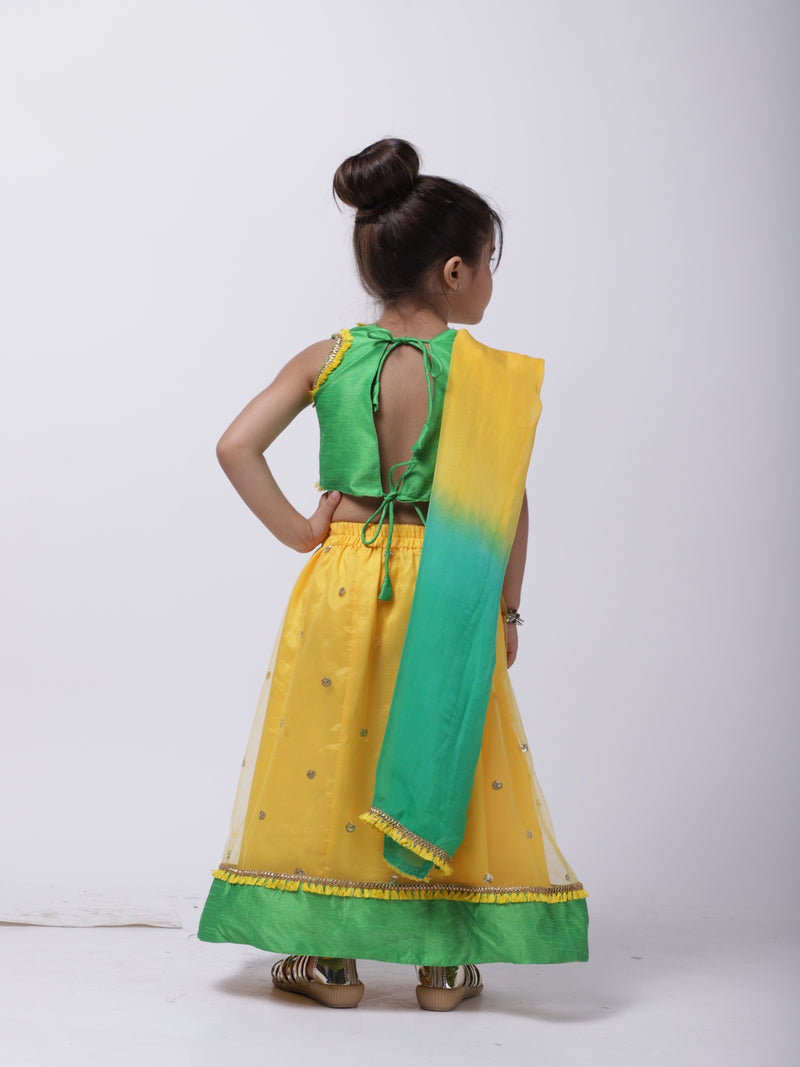 Sequin Net Lehenga Choli For Baby Girl- Yellow
