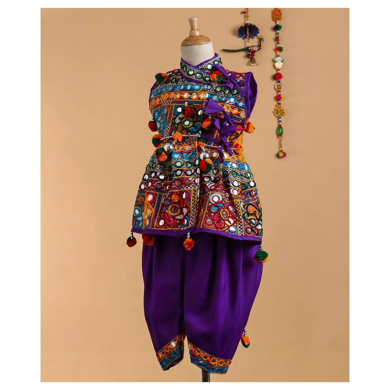 Bownbee Sleeveless Mirror work kedia dhoti set - Purple - BownBee - Creating Special Moments