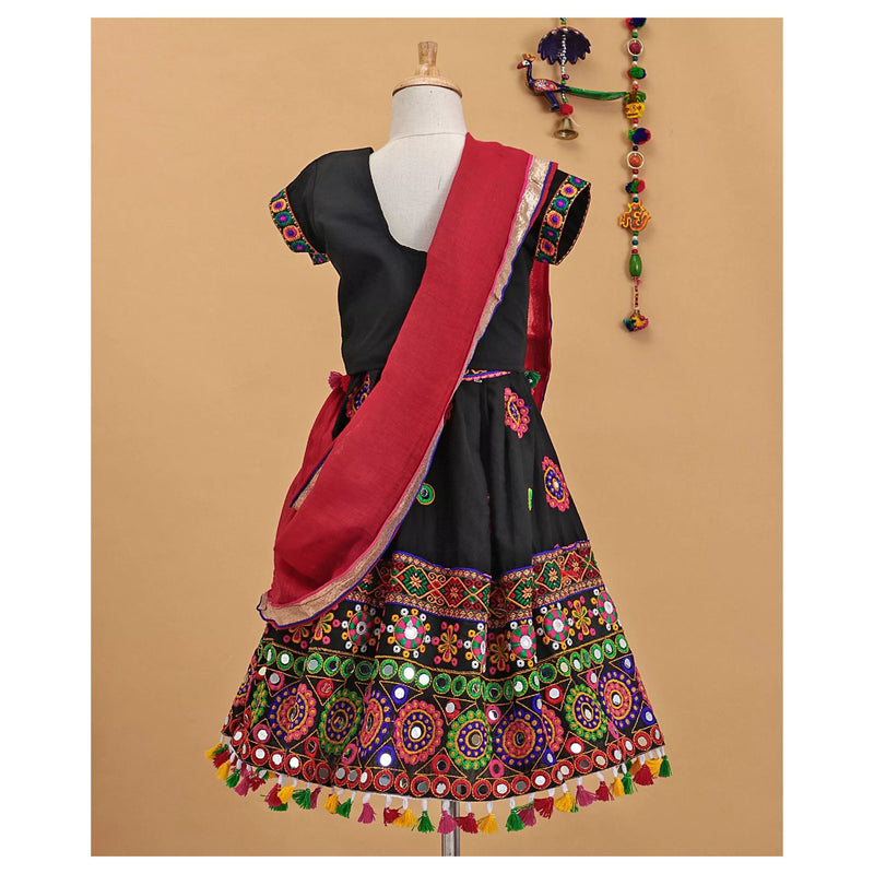 Bownbee Embroidered Lehnga choli Cotton - Black - BownBee - Creating Special Moments