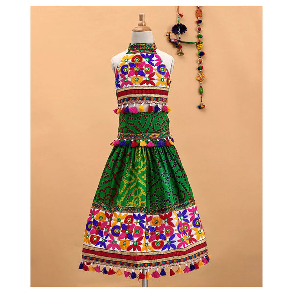 Bownbee Bandhni Cotton Chaniya choli Mor Border -Green