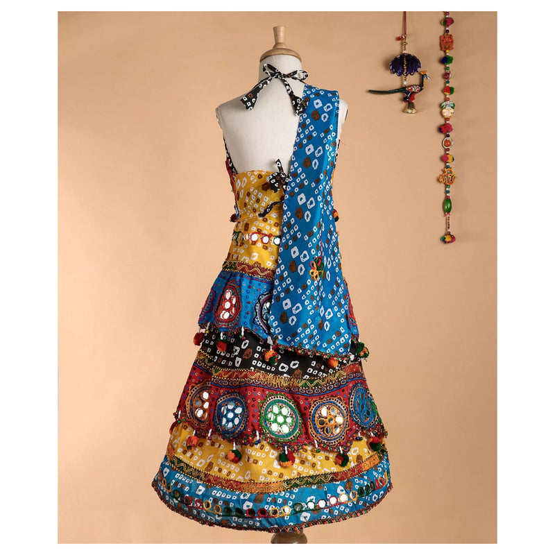 Bownbee Pachrangi Bandhni Chaniya choli - Blue - BownBee - Creating Special Moments