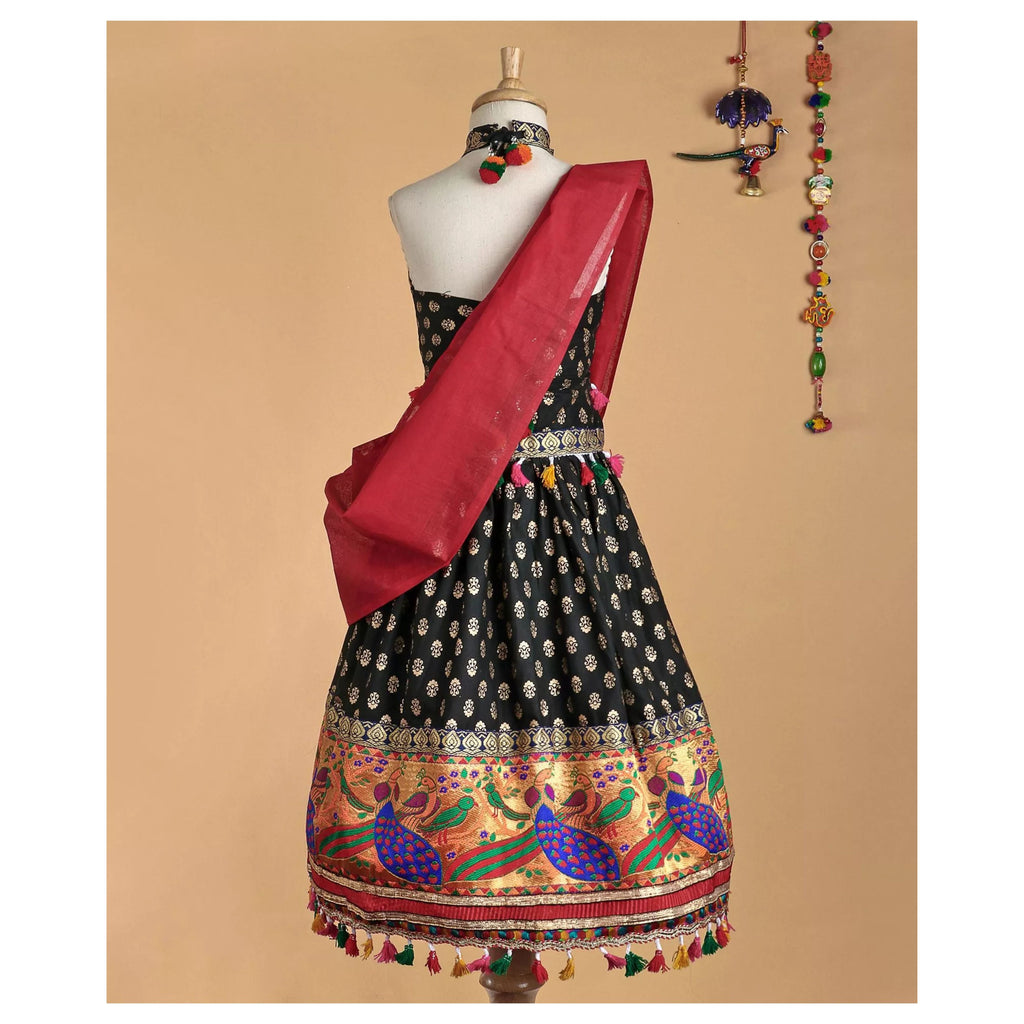 Bownbee Mor border Cotton Lehnga choli - Black - BownBee - Creating Special Moments