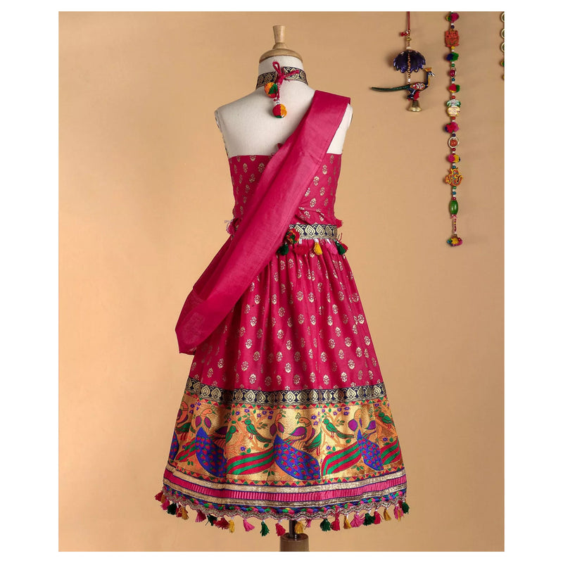 Bownbee Mor border Cotton Lehnga choli - Pink - BownBee - Creating Special Moments