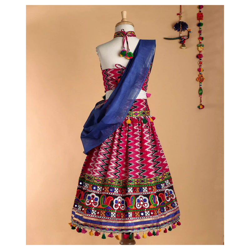 Bownbee Lehriya Print Cotton Lehnga Choli.- Pink - BownBee - Creating Special Moments