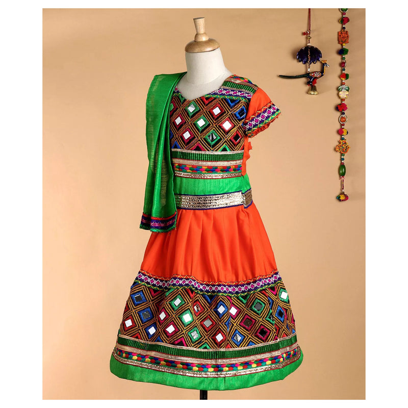 Bownbee Mirror Work Cotton Chaniya choli - Orange - BownBee - Creating Special Moments