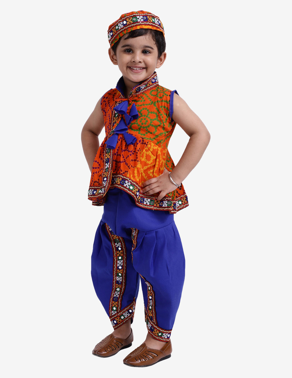 Printed Navratri Kedia Dhoti For Boys- Orange