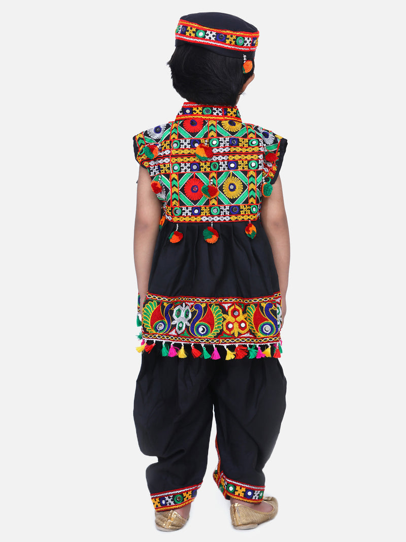 Embroidered Sleeveless Kedia Dhoti set- Black