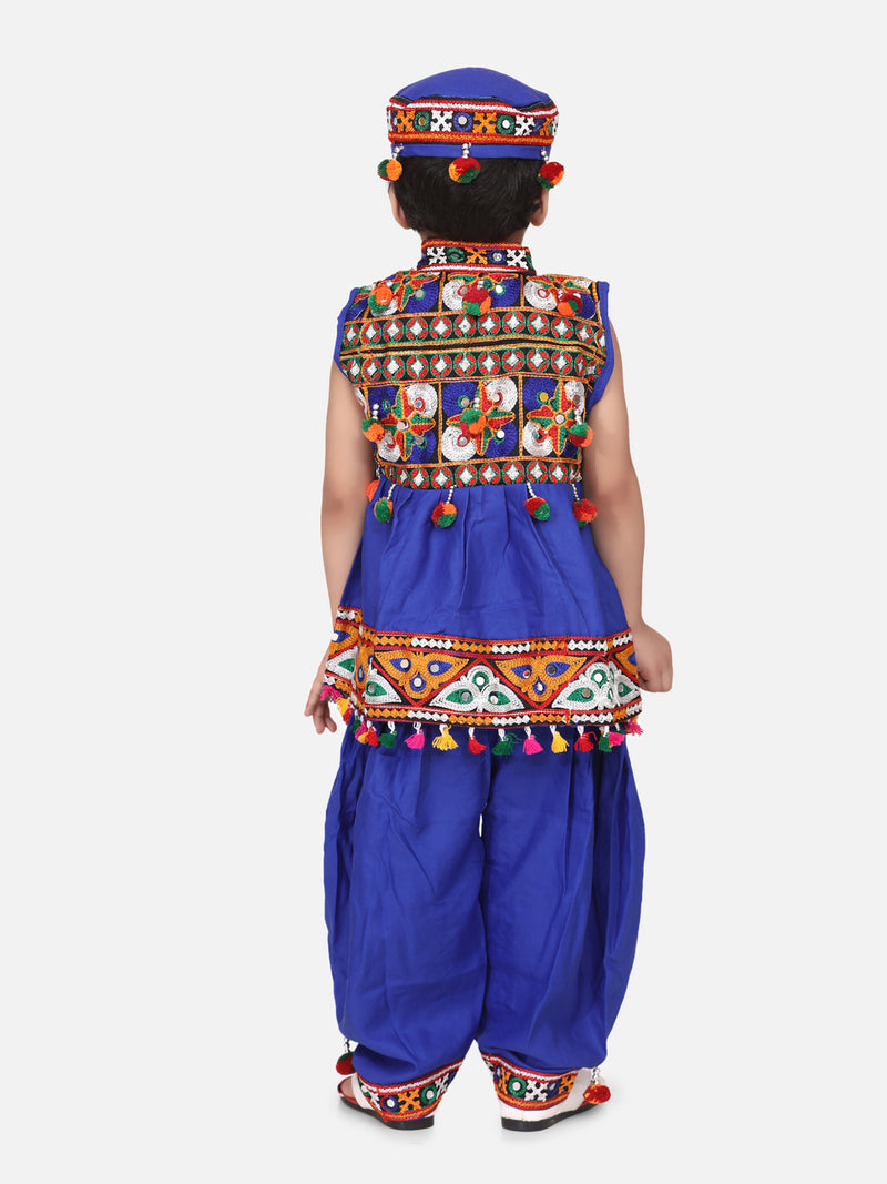 Embroidered Sleeveless Kedia Dhoti set- Blue