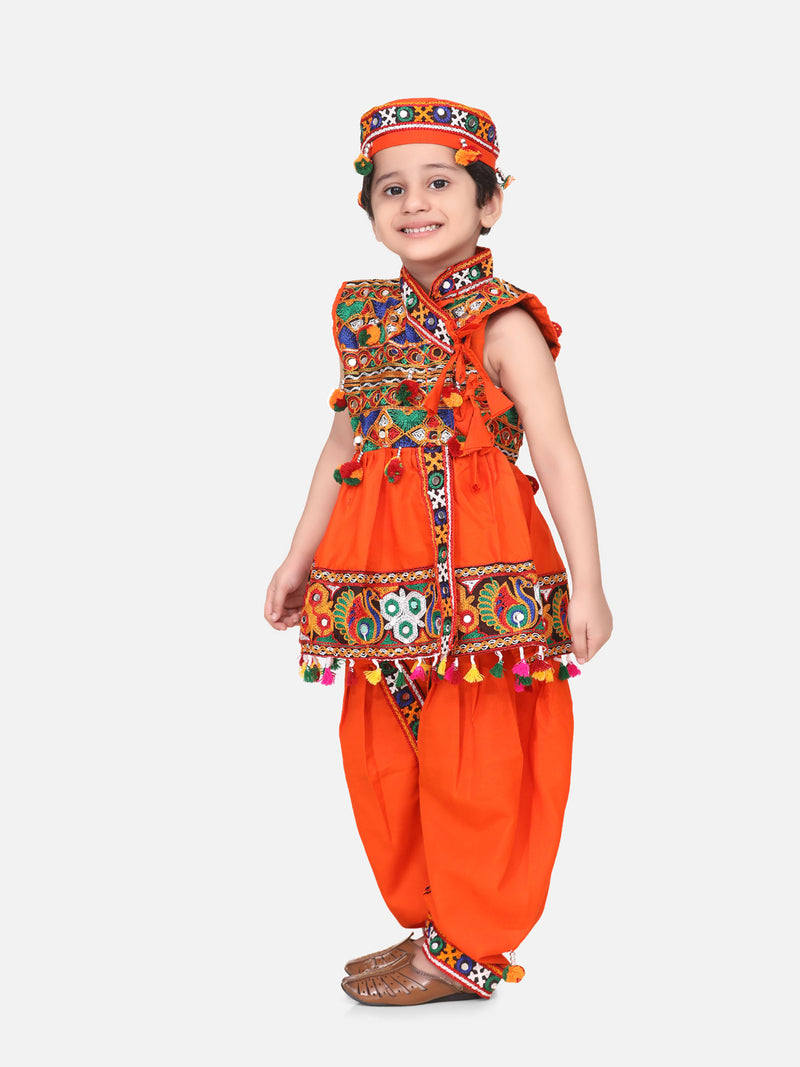 Embroidered Sleeveless Kedia Dhoti set- Orange