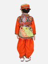 Motif Embroidered Full Sleeves Kurta With Dhoti & Cap
