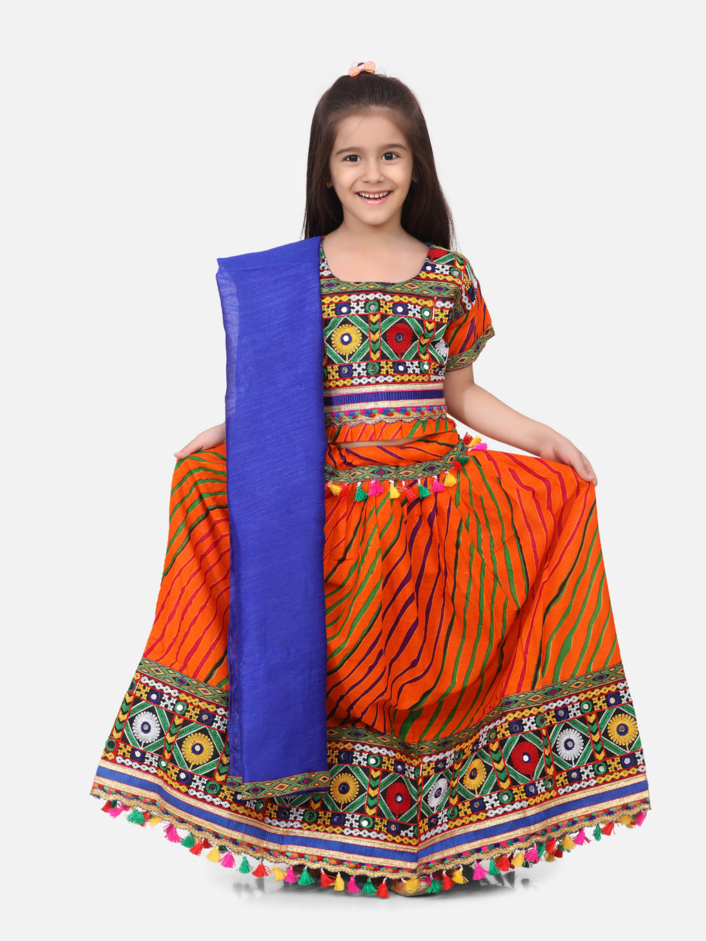 BownBee Leheriya Print Short Sleeves Choli With Dupatta & Lehenga Set -Orange