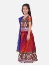 Bownbee Leheriya Print Short Sleeves Choli With Dupatta & Lehenga Set -Pink
