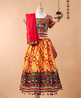 Bandhani Print Cotton Lehnga Choli- Yellow