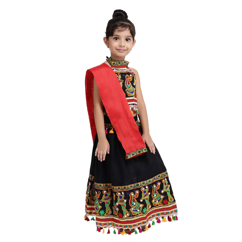 Dandiya border Plain Cotton chaniya choli -Black - BownBee - Creating Special Moments