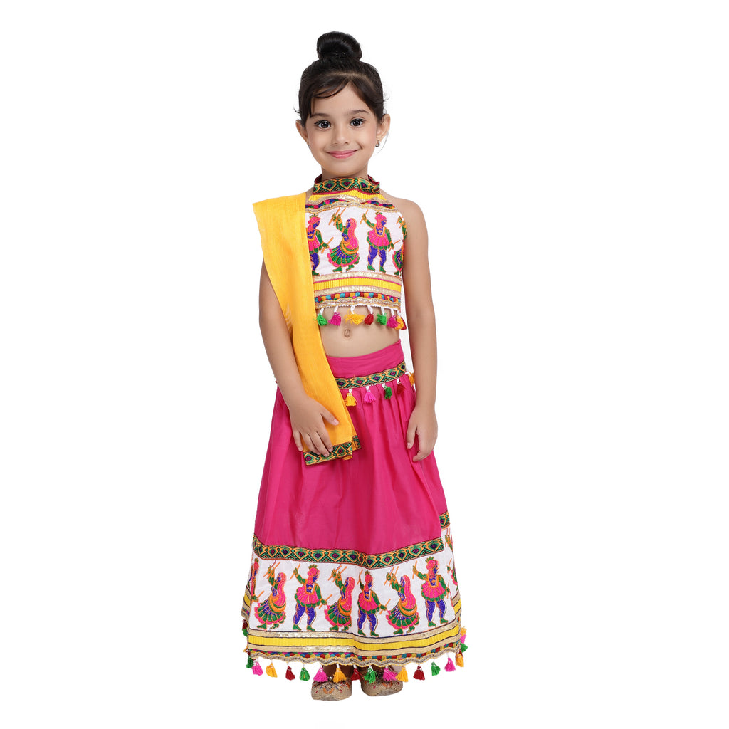 Black Dandiya border Plain Cotton chaniya choli - Pink - BownBee - Creating Special Moments