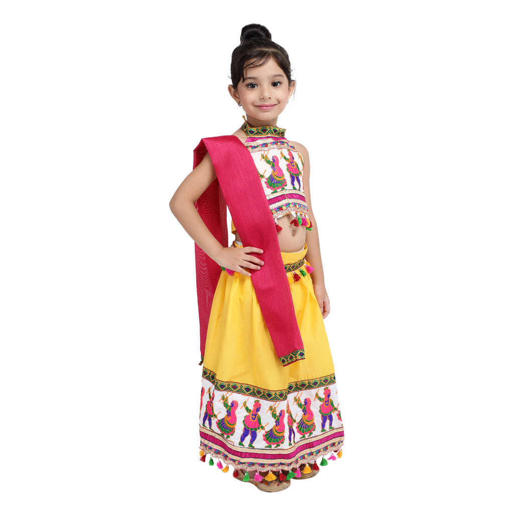 White Dandiya Border Plain Chaniya Choli-Yellow