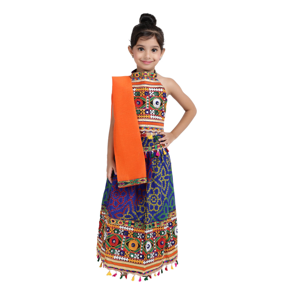 Bandhani halter neck chaniya choli - Blue - BownBee - Creating Special Moments