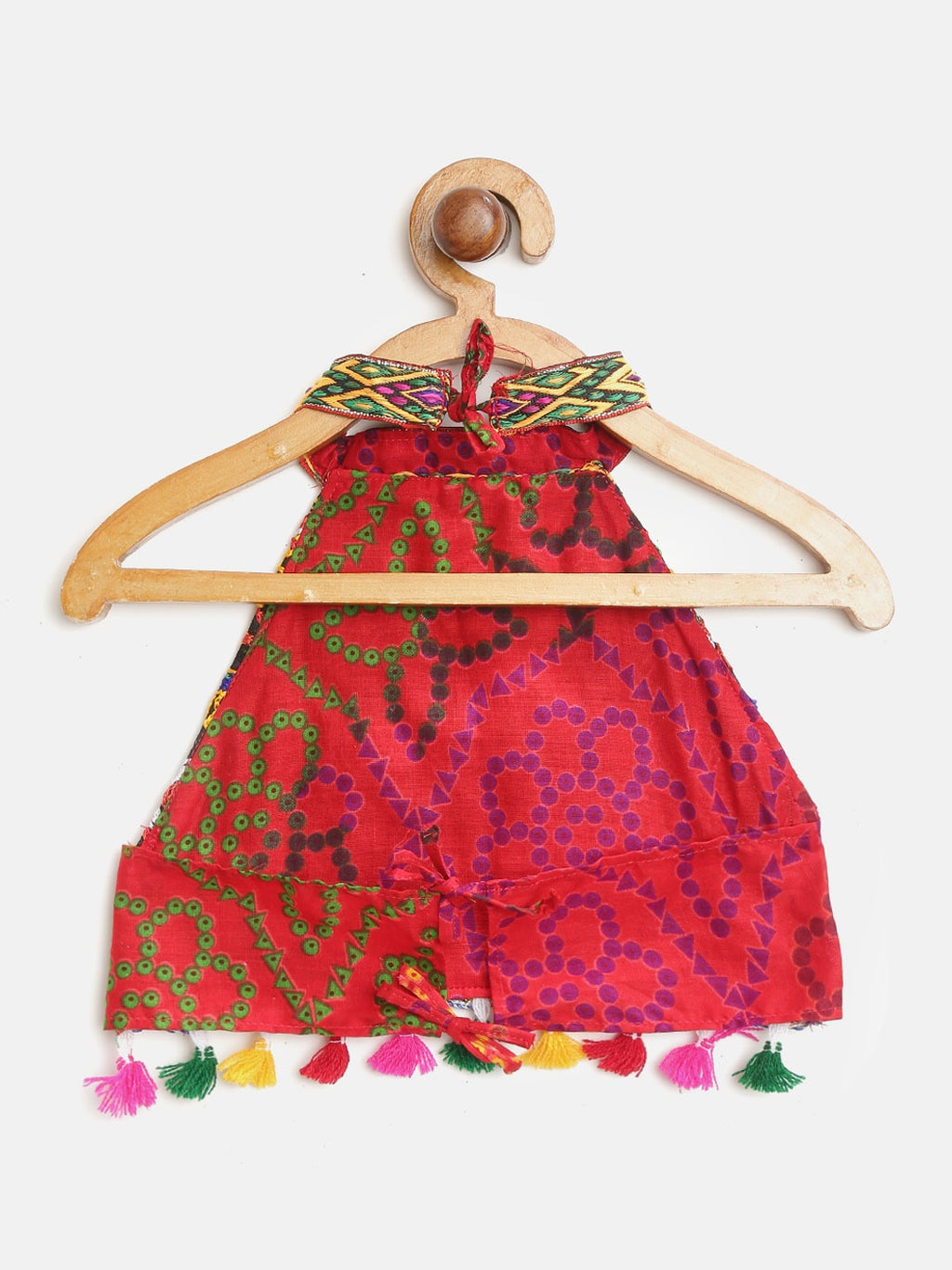 Bandhani halter neck chaniya Choli - Red