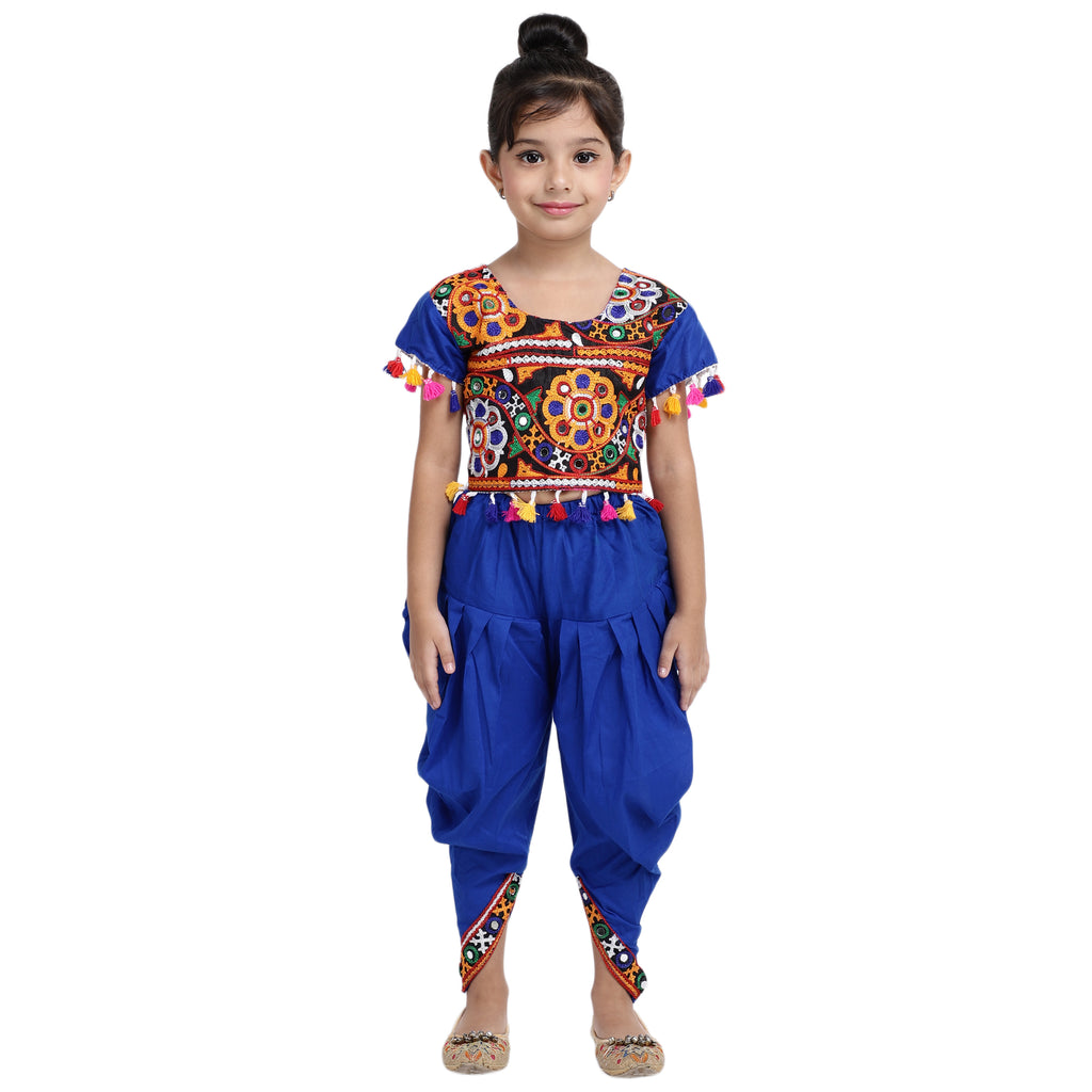 Embroidered choli with dhoti-Blue - BownBee - Creating Special Moments